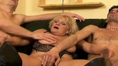 Old prostitute is tasting two young and super hard beaver-cleavers