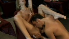 Attractive blonde with big boobs Brooke Banner gets fucked hard in a restaurant