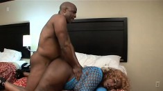 Fat ass ebony gets drilled by a chubby black dude who pounds her twat