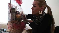 Now she gets some edible food and a very nice basket full of stuff