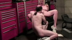 Skilled blonde gets into a sweaty fuck fest with a bald hunk
