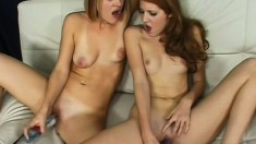 Two hot lezzies and two huge powerful vibrators to keep them busy