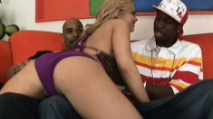 A slutty white girl gets roughed up by a pair of ebony studs