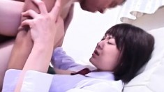 Pretty Asian broad gets her skirt pulled up and her cooch drilled