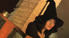 Fantastic Bella dresses up as a witch for a naughty photo shoot