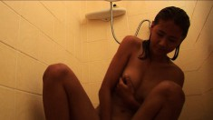 Naughty young Jasmine is eager to play with herself in the shower