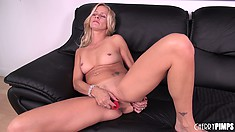 Blonde Milf Payton Leigh toys her twat from behind, then spreads wide