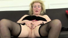 Grandma Pearl is a horny old fucker with a pierced clit and a desire to rub it