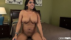 Gorgeous latina babe fucks herself with a dildo for the camera