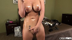 Tremendously horny petticoat Phoenix Marie oils her large boobs