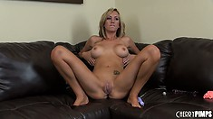 Foxy dame with tattoo on her tummy Brett Rossi completes her masturbation