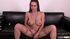 Rachel Roxxx showing off her big tits and using her little pink dildo