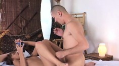 Sexy Japanese starlet begs her bald lover to pound her like a pro