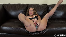 Rebecca Bardoux is a hot mama and likes to play with her vibrating sex toy