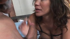 Smoking hot woman gets banged while wearing a sexy black bodysuit