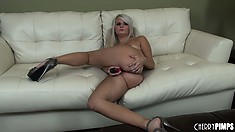 Naughty blonde with platinum hair rubs her lovely pink snatch