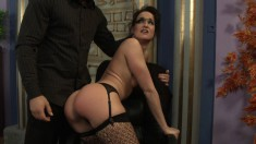 Sexy brunette in fishnets is toyed, fingered and sucks out his jizz