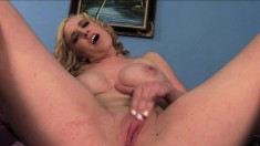 Nasty Blonde Babe Loves Being Watched While Working A Thick Piston