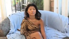 Exotic Asian girl with nice boobs is introduced to a huge black prick