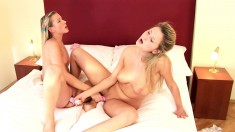 Two bodacious blondes indulge in lesbian sex and fulfill their needs