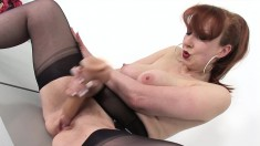 Hot Redhead Mom In Lingerie Fingers And Toys Her Fiery Slit To Climax