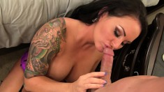 Tattooed slut with big round boobs Maci is longing for hot sex action