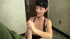 Sexy brunette bitch shows Billy's boner a little TLC with a handjob
