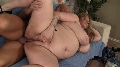 Curvaceous blonde mature seduces a younger guy to satisfy her desires
