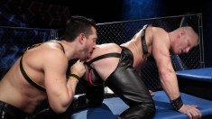 Kinky blonde stud in leather gets his hungry ass pumped full of cock