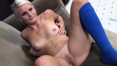 Petite blonde with a superb ass Lacey Lux takes a big dick for a ride