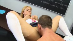 Sensuous blonde flaunts her sweet body and gets banged by her teacher