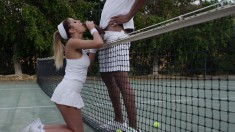 Bodacious Blonde Beauty Getting Fucked Deep By Her Black Tennis Coach