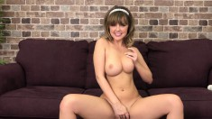 Seductive girl with amazing big boobs feeds her desire for hard meat