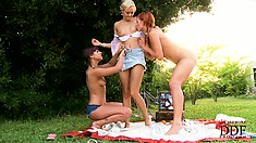 Lesbian babes have a threeway where they lick each other's toes