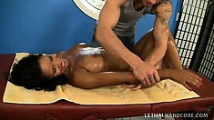 Hot Latina with big boobs and a perfect booty Elena Heiress enjoys a full body massage