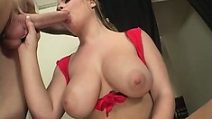 Magnificent blonde with huge tits and a big round ass is yearning for hardcore action