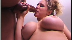 Big tit blonde Ryan Conner knows her way around a cock in her mouth