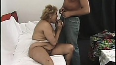 Chubby grandma with big titties gets banged by a younger dude