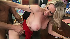 No matter what position the hot blonde is being pounded she can't get enough of it