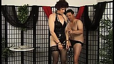 Kinky mature lady in hot lingerie gets down on her knees and worships her man's dick