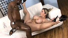 Hot MILF Sara Jay can't wait to cum while a black dick is drilling her