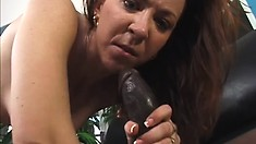 His monster black snake leaves this brunette slut with a gaping ass