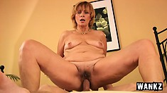 Mature red head loves sucking and fucking young hard long cock