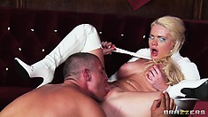 Busty blonde MILF likes hot sex in The Hellfire Club after dinner