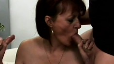Mature woman takes cocks in her mouth and gets fucked by four dudes