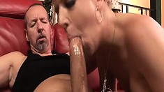 Anita deep throats a long shaft before riding it with great enthusiasm