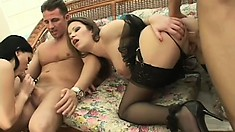 Two sultry girls in hot lingerie getting fucked by a pair of hung guys