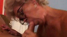 Filthy old woman toys with her snatch before a young man fills it