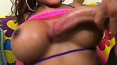 Busty ebony beauty takes a big dick balls deep in her nasty snatch