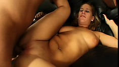 Watch this busty babe's juicy round ass bounce as she rides a cock